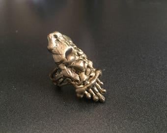 Brass Brustalist Ring, Vintage Jewelry, Size 9.5 Statement Ring Modernist Style