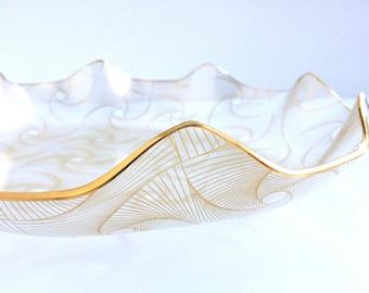 Mod Op Art Glass Platter