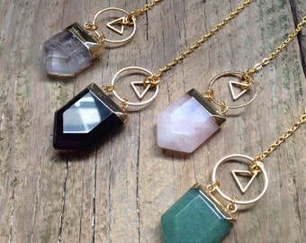 The Gold Sibyl Lariat Y Necklace Amethyst, Green Aventurine, Rose Clear Quartz Crystal Pendant Choker Goth Witchy Triangle BohoGeometric