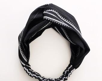 Phyllis Fabric Headband - Turban headband - Black and White - Boho headband - Womans headband - Adult headband - Black headband
