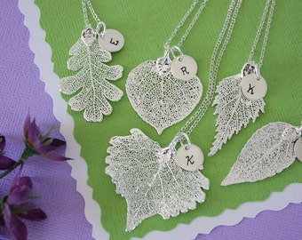 8 Silver Leaf Personalized Bridesmaids Gift, Bridesmaid Necklace, Real Leaf, Thank You Card, Initial Jewelry, Sterling Silver Charm