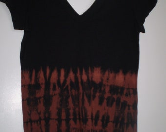 Deep V -Hand dyed Rust and Black Cotton T-28.00 Free SH. One of a kind
