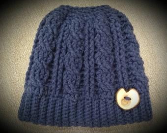 Messy bun crochet cable beanie