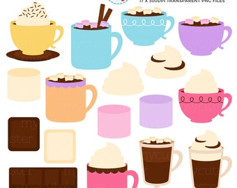 Hot Chocolate Clipart Set - mugs, cups, chocolate, drink, marshmallows, cream, choc - personal use, small commercial use, instant download