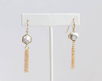 White Marble Earrings - Marble Gold Jewelry - Trendy 2017 Jewelry - Marble Jewelry - Modern Gold Jewelry - Marble Dangle Earrings