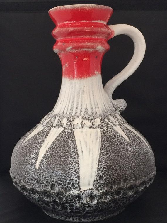 Beautiful vintage ceramic West-Germany seventies large vase.
