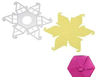 hexagonal metal scrapbooking die hexagonal dragees, die cut boxes box