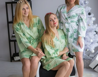 Premium Mint Bridesmaids Robes - Tropical Delight Pattern - Palm Leaves - Soft Rayon Fabric - Better Design - Perfect getting ready robes