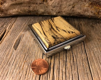 Wooden Make up mirror / Compact case: Spalted Tamarind