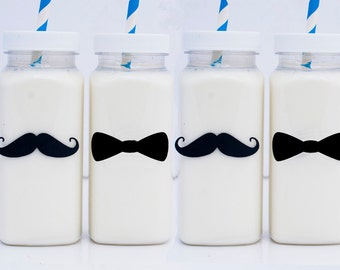 10 or More, Bowties and Mustaches Milk Bottles, Little Man Plastic Milk Bottles,  Little Man Chalkboard Labels & Caps GS001