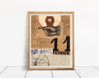 Art Print, AIR MAIL, collage art