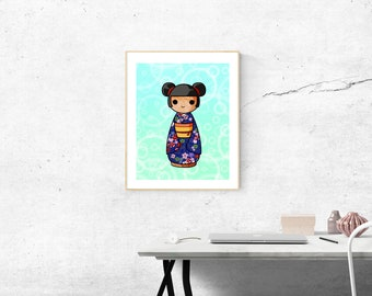 Printable: Akie Kokeshi Japanese doll.