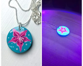 Stargazer Lilly Hand Painted Resin UV Pendant