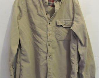A Men's Vintage 70's,Tan CORDUROY Stoner era Shirt By LANDS' END.M