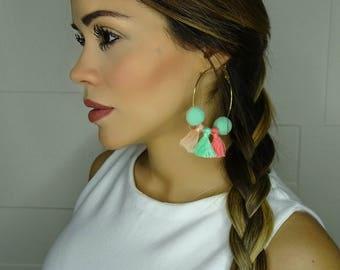 Tassel Earrings, Colorful Hoop Earrings, MultiColor Hoop Earrings, Gold Hoops, Hoop Earrings Gold, Large Hoop Earrings, Pompom Hoop Earrings