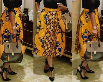 Yellow & Blue Multicolored African Print Pleated Midi skirt; African Clothing; Ankara Skirt;African skirt; Yellow Skirt; African Print Skirt