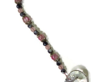 Sweetheart Love HEART Crystal Sun Catcher Ornament 30mm Pink and Black Beads Rainbows Feng Shui