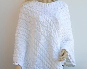 White knitted poncho, knit poncho, boho poncho, knitted wrap, bohemian poncho, Women poncho, bridal poncho, bridal accessories, bridal cape