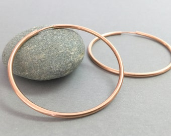 Large rose gold hoops, Classic gold hoops, Extra large hoop earrings, Minimalist hoop earrings,Everyday gold earrings,Delicate hoop earrings