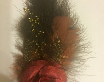 Retro Rust Brown Coque Marabou Feathers Fascinator Anywhere Clip