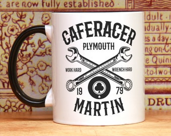 Motorcycle gifts vintage motorcycle art Cafe racer motorbiker gift for him biker coffee mug PERSONALIZED mug wrench hard birthday gift idea