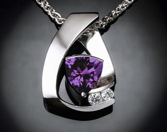 alexandrite necklace, white sapphires, June birthstone, Argentium silver, Chatham alexandrite, contemporary jewelry - 3452