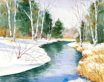 """winter painting, watercolor print """"Whitefish Bay Creek"""" giclee 5x5"""