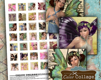 Fairy Collage Sheet 1x1 Inch Inchies Fantasy Collage Sheet - Jewelry Images - Printable Craft Sheet - Digital Collage Sheet - CalicoCollage