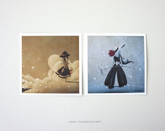Dreamer Series Mini Print Set- 'Wishes by the Sea' & 'The Flower Girl' - Signed