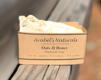 Oatmeal Honey Soap, Oatmeal Milk and Honey Soap, Oatmeal Soap, Ground Oatmeal Soap, Exfoliating Soap, All Natural Soap, Cold process Soap