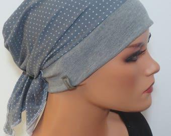 Head scarf hat/turban light grey ideal headgear B. Chemotherapy Alopecia hair loss Chemomütze Cancer therapy Cabriotuch