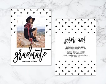 Printable Double Sided Modern Watercolor Triangle Pattern Graduation Invitation or Announcement
