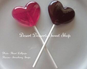 HEART LOLLIPOPS, Heart Party Favors, Valentine's Day, Wedding Favors, Bridal Shower, Birthday Party Favors, Desert Sweet Shop-Set of 10