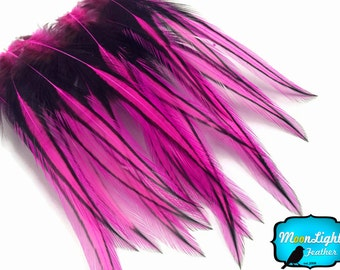Fuchsia Laced Pointy Feathers, 10 Pieces - HOT PINK Laced Long Rooster Cape Feathers : 3346