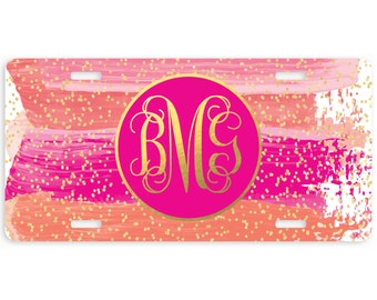 Car Tag-Watercolor Stripes Personalized Car Tag, Monogrammed License Plate, Personalized License Plate, Christmas Gift, Sweet 16, Birthday
