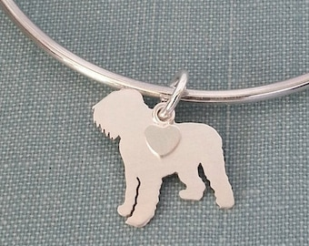 Black Russian Terrier Dog Bangle Bracelet, Sterling Silver Personalize Pendant, Breed Silhouette Charm, Rescue Shelter, Memorial Gift