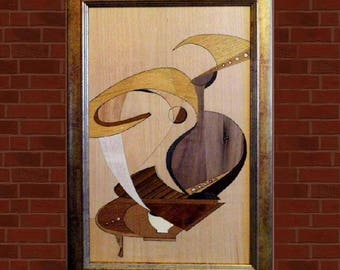 Marquetry Abstract Wood Picture Still Life