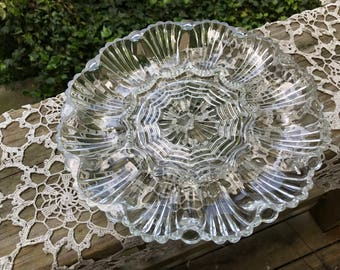 Vintage Clear Glass Egg Serving Plate or Tray