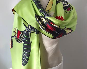 Silk Charmeuse Scarf with Butterflies