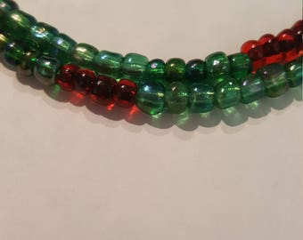 Red and Green Iridescent Bead Bracelet