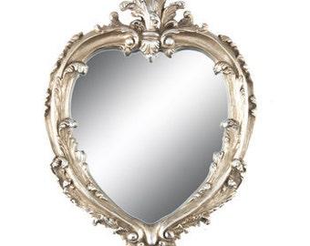 Silver heart shaped mirror/Stunning ornate mirror/Personalized wedding sign/Elegant house decor/Wedding gift