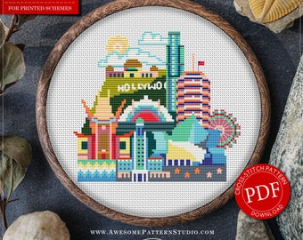 Los Angeles Cross Stitch Pattern for Instant Download *P073 | Easy Cross Stitch| Counted Cross Stitch|Embroidery Design