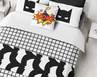 Comic Book Bat Bedding Set