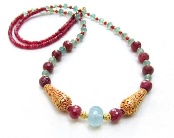 Long Ruby, Aquamarine, and Apatite Necklace with 22k gf Beads - Handmade NATURAL Gemstone Necklace