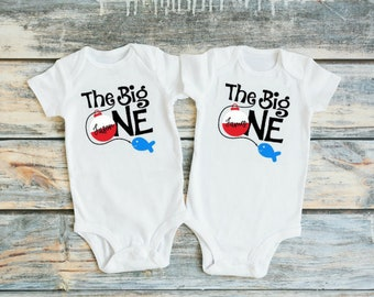 Twin Boys First Birthday Outfit - Twin 1st Birthday Outfit - 1st Birthday Twins - The Big One Fishing Birthday - Twin Boys First Birthday
