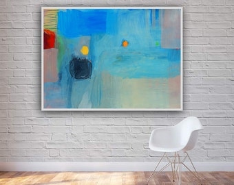 Blue White Pink Yellow Abstract Large Modern Painting Colorful Art Contemporary Wall Decor Expressionist 100 x 70 cm FREE SHIPPING