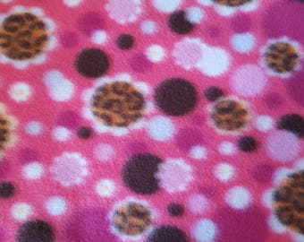 Floral Polka Dots on Pink Fleece Fabric sold by the yard