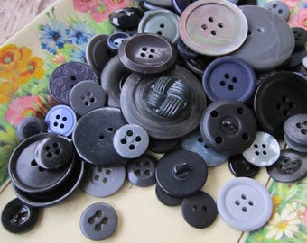 130 Vintage Black/Grey/Navy Buttons - Mixed Lot