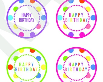 Happy Birthday Cupcake Toppers Digital Download File Clipart Printable Rainbow Favors Polka Dots Birthday Favors Party Decoration Polka Dot