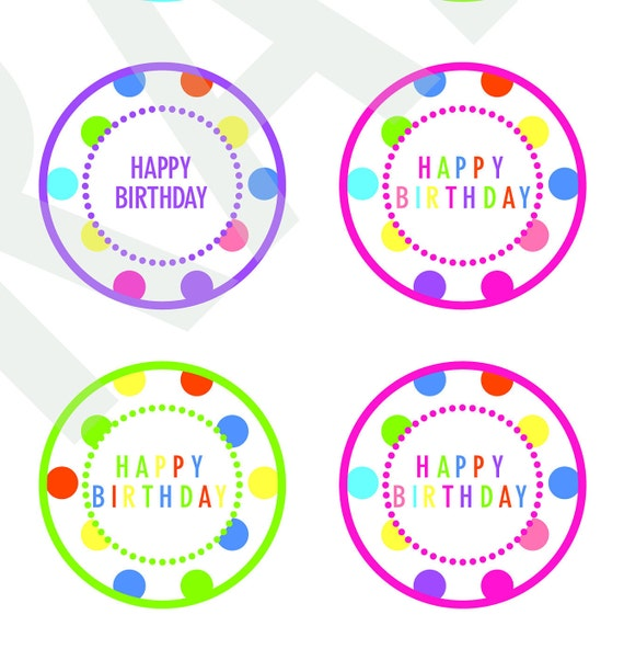 Happy Birthday Cupcake Toppers Digital Download File Clipart